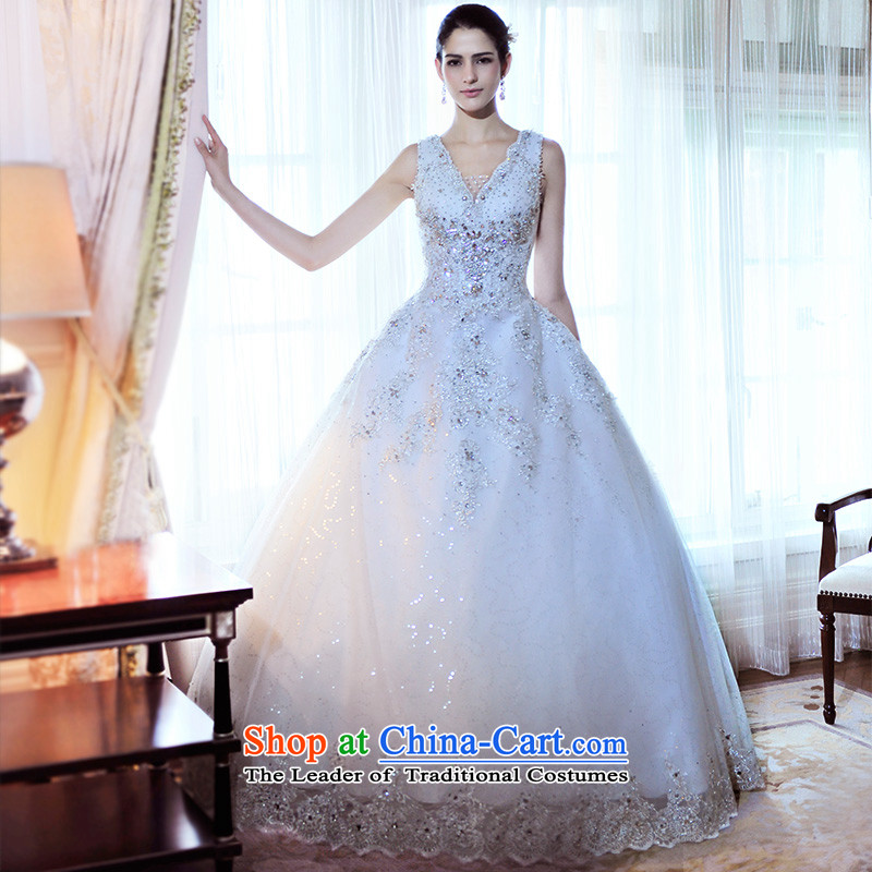 Full Chamber Fang 2015 new baroque palace wedding dresses?V-Neck tail diamond wedding S21488 tail 165-M 100cm
