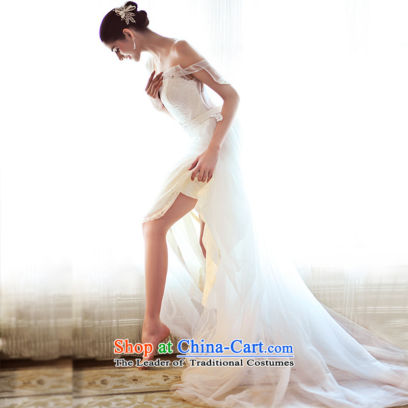The spring chamber full Fong 2015 new wedding dresses hang also shoulder strap Korean tail white bride wedding diamond S21471 tail 165-XL 50cm