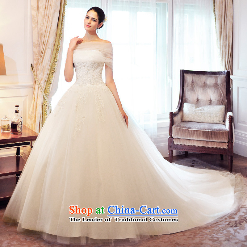 2015 spring chamber full Fong new wedding dresses and chest of the word shoulder two wearing tail Korean S21460 wedding to align tailored)