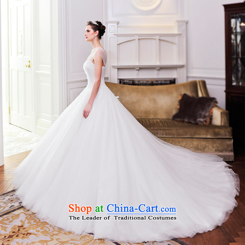 2015 Spring new bride deluxe wedding dresses wedding anointed chest shoulder straps crystal tail wedding S21483 165-S 80 cm