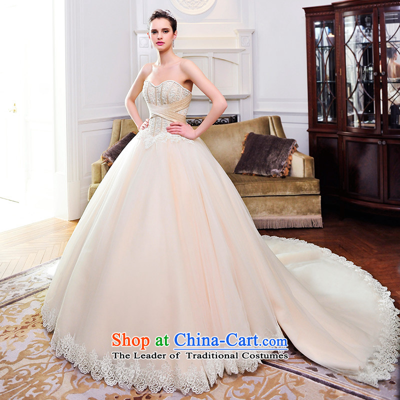 Full Chamber Fang 2015 new wedding dresses and chest Deluxe Big tail Korean nude wedding S21482 bride to align tailored)