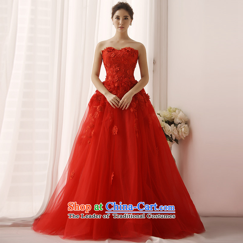 Full Chamber Fang 2015 new anointed Chest Flower vera wang style small red tail wedding dresses s1376 red tail 165-S 30cm