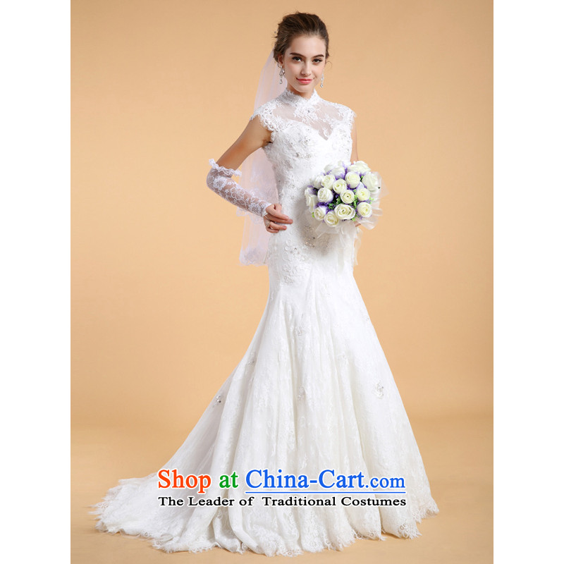 158 color?alignment to prevent finalities 2015 wedding custom white lace Nail-tail wedding dresses female Pearl White?M