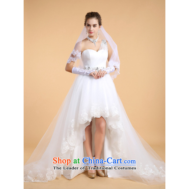 158 colorful wedding dresses skirt shoulder marriages large tie in waist tail-made guoisya white?L-pre-sale