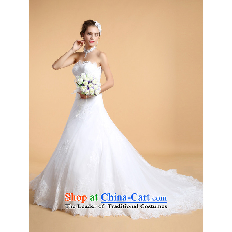 158 multimedia Korean anointed chest straps white tail lace The Princess Bride Wedding Dress White?XL-pre-sale