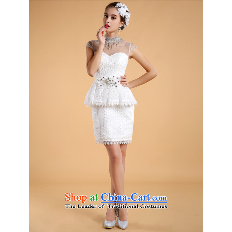 Li also after long tail short wedding dresses�2014 new bride two kit lace marriage wedding to white (not tail) L-pre-sale