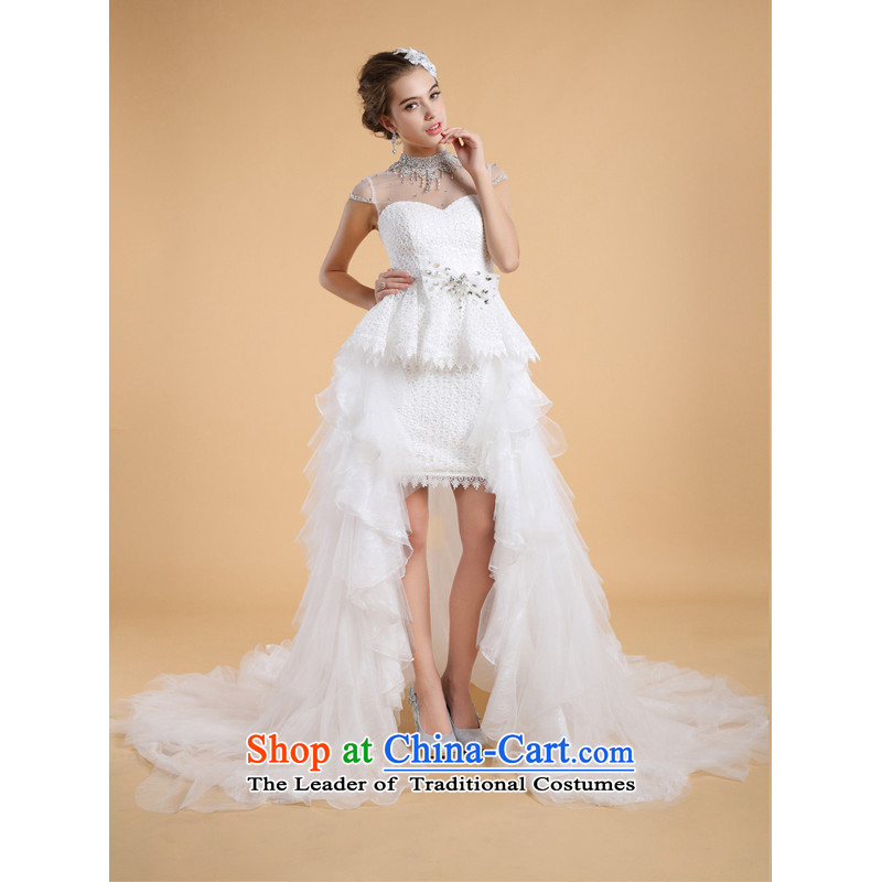 158 multimedia?2015 front stub long after the bride tail wedding dresses two kit lace marriage wedding white _TAIL_ S-pre-sale