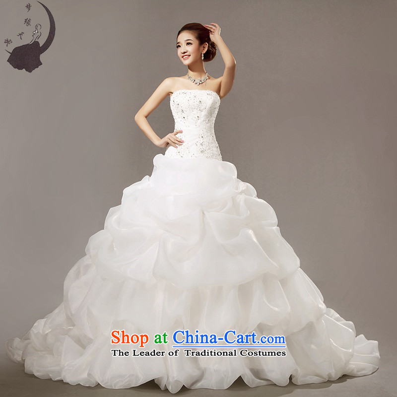 The leading edge of the days of the wedding dresses 2015, Japan and the Republic of Korea large bon bon tail wedding dress H5633 White XL