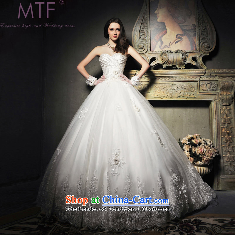 Full Chamber Fang�2015 Summer new Korean Princess Mary Magdalene chest wedding dress elegant lace Korea wedding dresses�S601�tail tailored 100cm