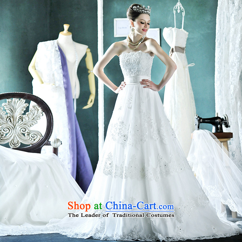 Full Chamber Fang 2015 new bride wedding anointed chest wedding dresses lace diamond white long tail straps H935 tail 165-L 50cm