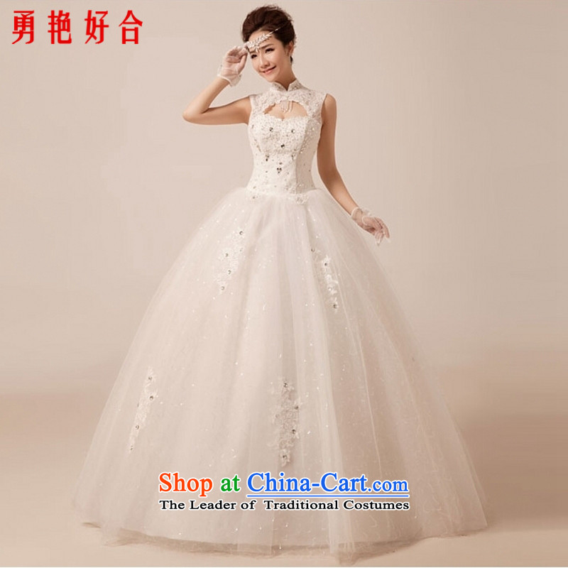 Yong-yeon and wedding dresses new luxury palace high collar 2015 collar align to lace back wedding white聽S