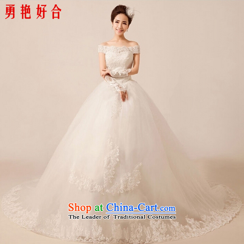 Yong-yeon and wedding dresses new Word 2015 luxury shoulder lace tail sweet princess straps wedding white streak?L