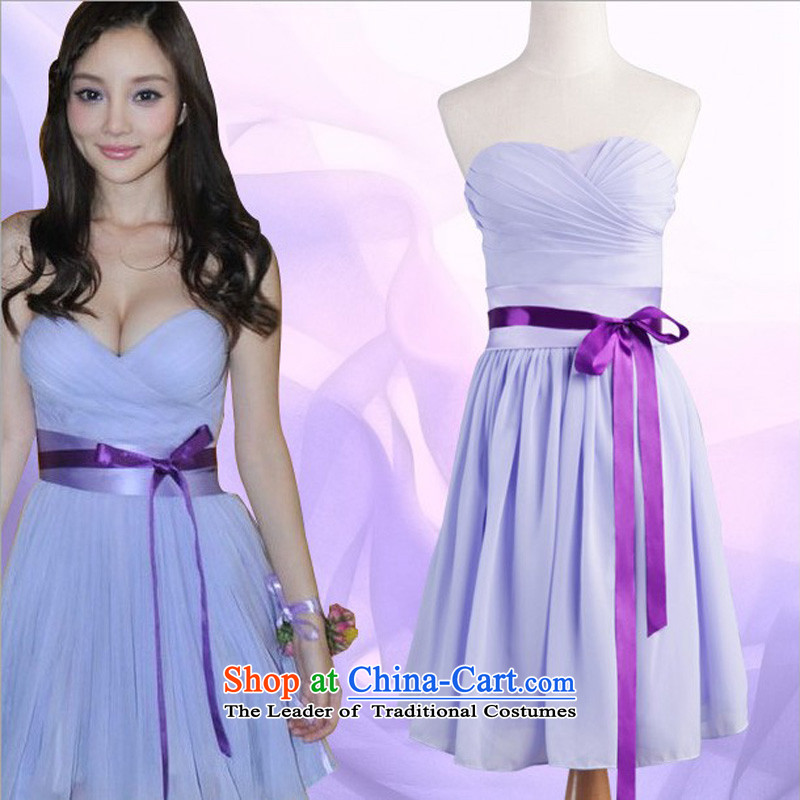 Bridesmaid dress purple anointed chest belt short_ bridesmaid small dress DLF121023 lavender color zipper S