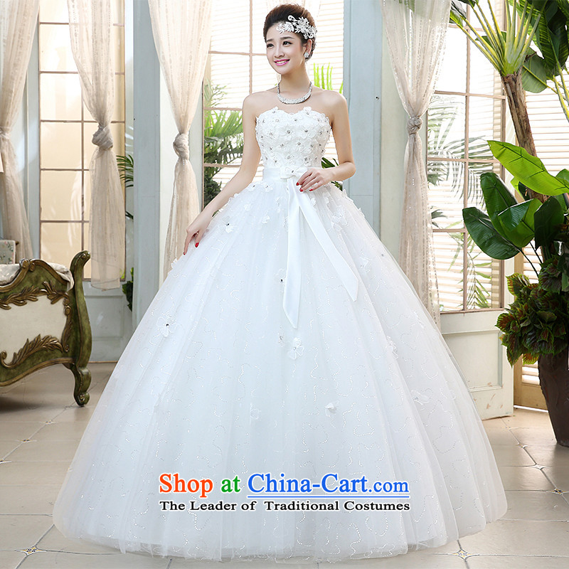 Hiv Miele wedding dresses 2015 new bride wedding anointed chest water drilling flowers Korean style with sweet Sau San video wedding聽H-39 thin聽White聽XL