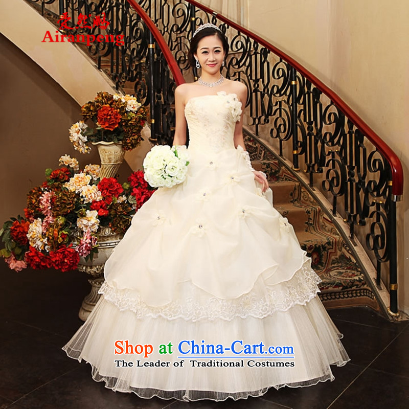 The Korean version of the wedding dress 2015 straps Sau San video thin manually align the flower of the chest with sweet wedding?package returning White M