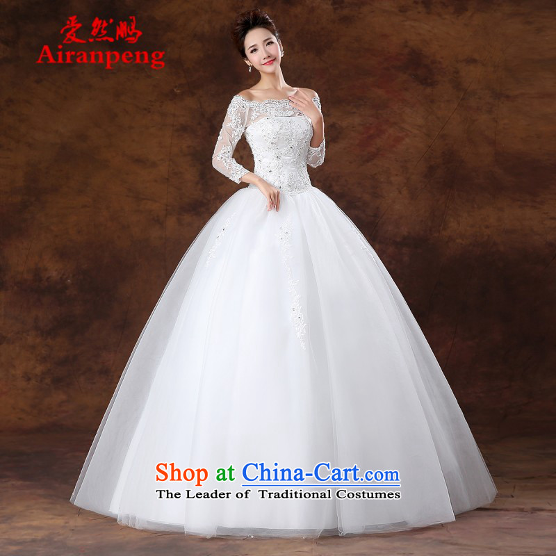 2015) Bride wedding dresses lace a field for half a long-sleeved Korea shoulder version to align the princess of nostalgia for the long sleeved shirt with white?XL package returning