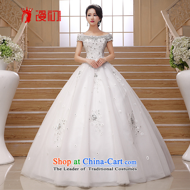 At the beginning of Castores Magi wedding dresses new 2015 Asian layout to align the retro graphics thin luxury water drilling package word shoulder shoulder wedding White?XL