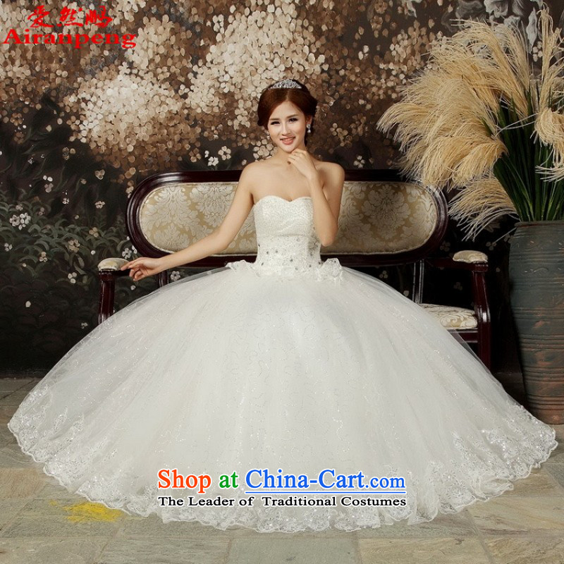 Love So Peng wedding dresses new summer 2015 Korean Princess Mary Magdalene water drilling on-chip chest large graphics thin pregnant women white wedding White聽XL package returning