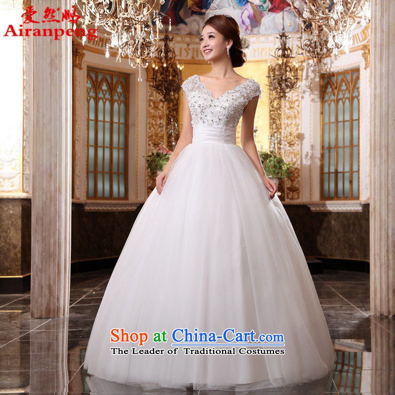The word love so Peng shoulder V-Neck bride new wedding dresses and sexy retro Princess 2015 to align the wedding?package returning White XL