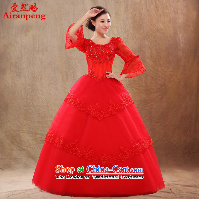 Love So Peng bride wedding dresses 2015 autumn and winter new Korean word to align the package in large cuff shoulder fat mm thin red?XL package video returns