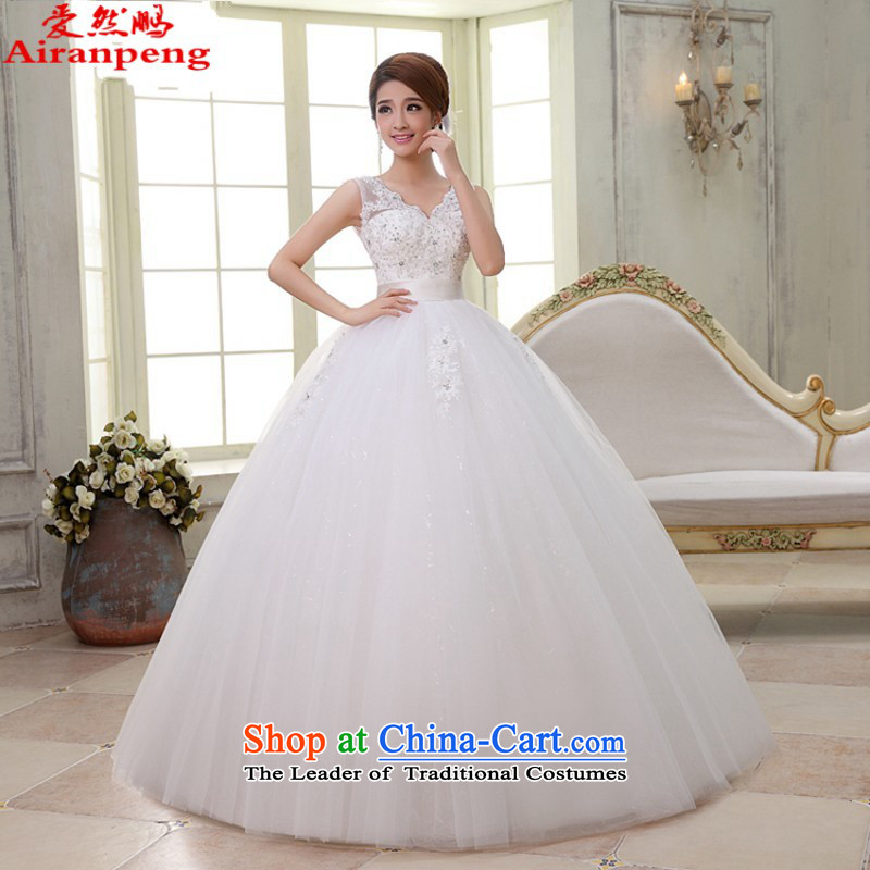 Pregnant women wedding slotted shoulder Korean high waist straps, wedding dresses new 2015 V-Neck HS6263 lace white?XL package returning