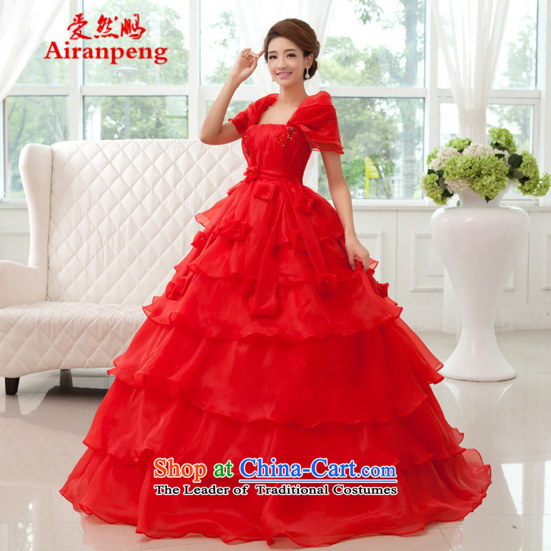 Love So Peng 2014 autumn and winter, does not show the stomach Top Loin of Korean cake petticoats video thin large tie pregnant women bride wedding?package returning red XL