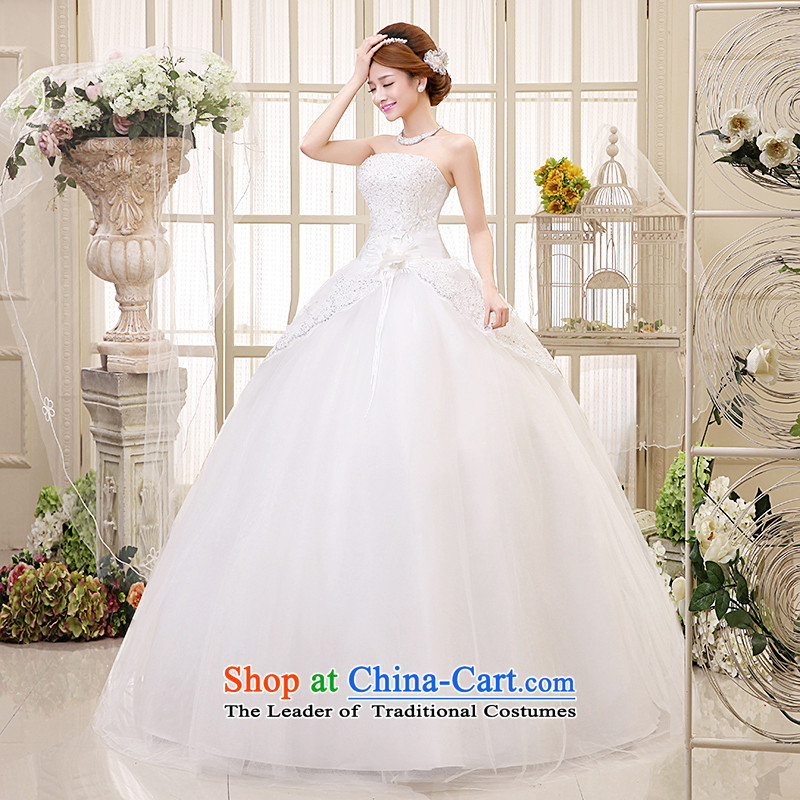 Hiv Miele wedding dresses 2015 new Korean version of the Princess Bride wedding wiping the chest straps stylish Sweet flowers on-chip video thin�H-40 Sau San�white�L code waist 2.1 foot