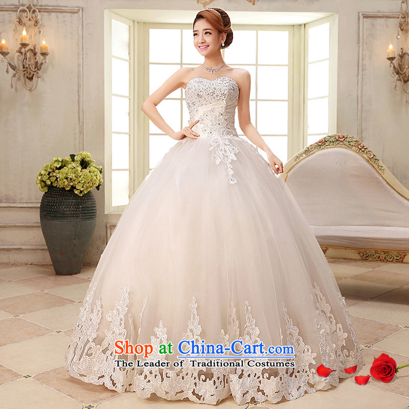 Hiv Miele wedding dresses 2015 new Korean anointed chest Princess Bride sweet wedding tie bows wedding gown marriage lace car Bone?White H-35 flower?S