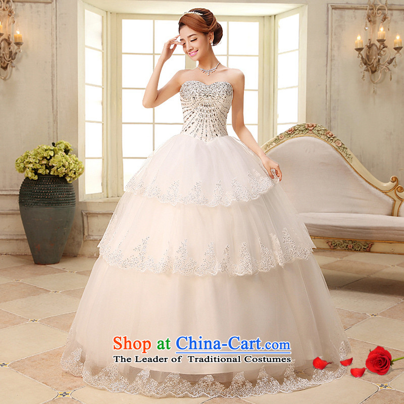 Hiv Miele wedding dresses 2015 new luxury of diamond ornaments with chest marriages to align the wedding band wedding dress Korean�H-34 Sau San video thin�White�XL