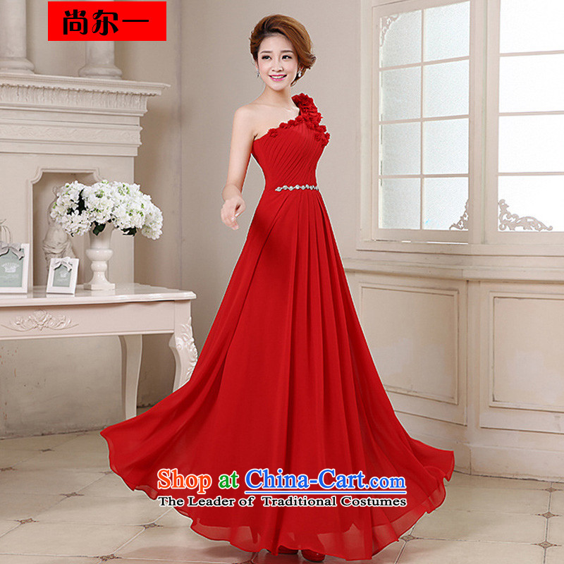 Yet, a dress long wedding dresses and stylish wedding service bridal bridesmaid bows shoulder Beveled Shoulder xs151 red large red Sau San XXL