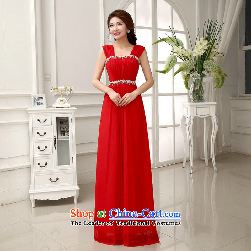 Yet, a new paragraph shoulders red chip marriages bows services evening dress wedding bridesmaid long XS293 large red?L