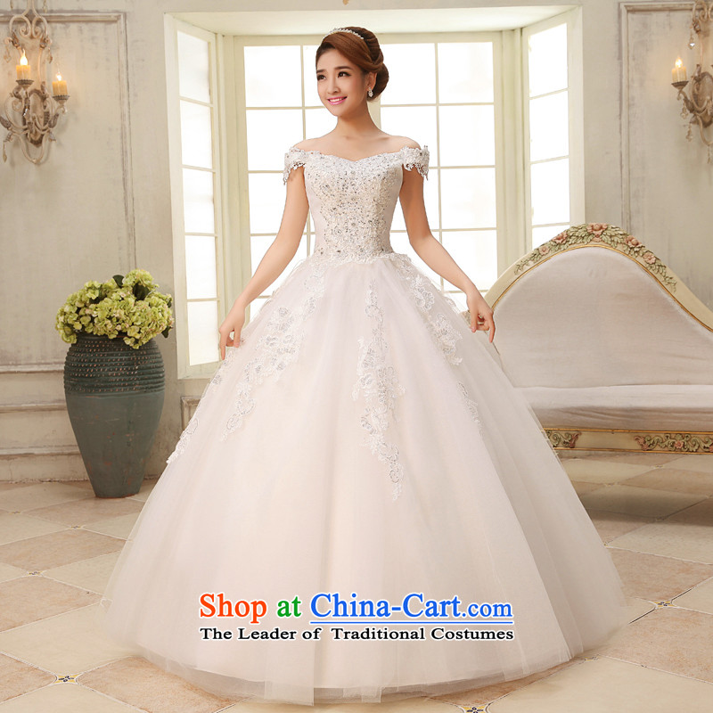 The HIV�NEW 2015 princess slotted shoulder wedding dresses tail Korean lace thin snap to bind the video with large wedding�H-31 code�White�XL
