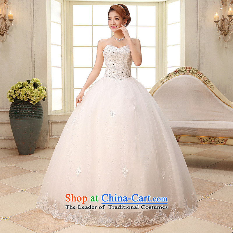 The HIV NEW 2015 wedding dresses Korean wiping the chest straps yarn diamond large female wedding to align the white marriages wedding?H-30?white?L