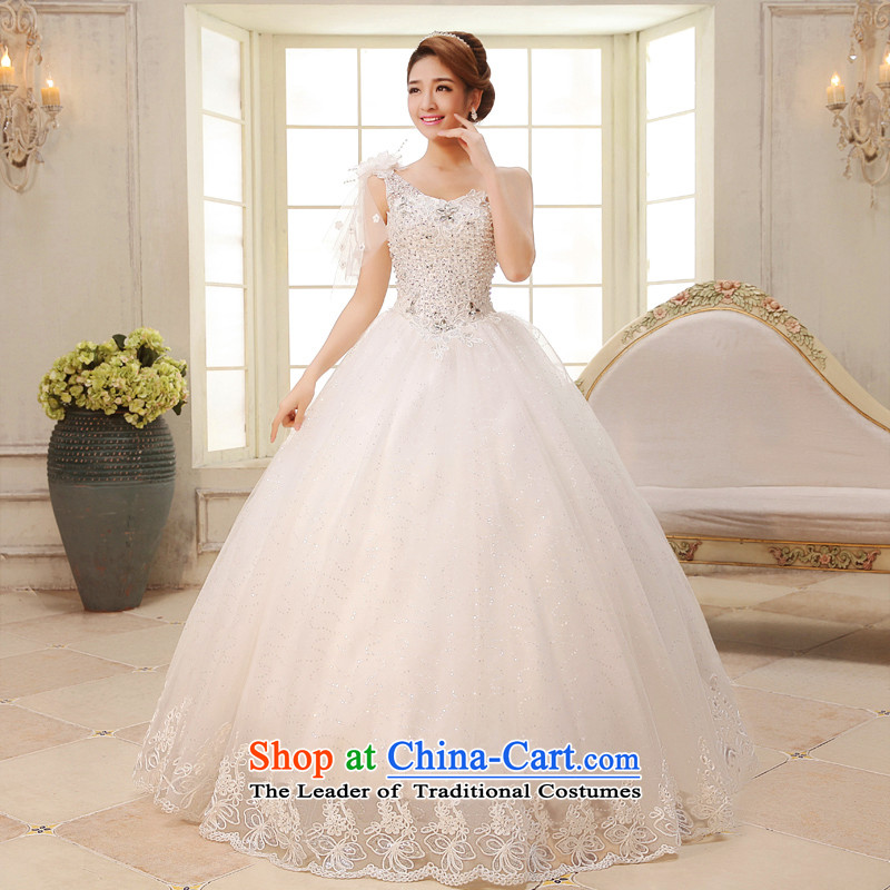 The HIV NEW 2015 bride wedding dresses on chip anointed chest luxury with irrepressible flowers shoulder of diamond ornaments lace thin?H-29 Sau San Video?White?XXL