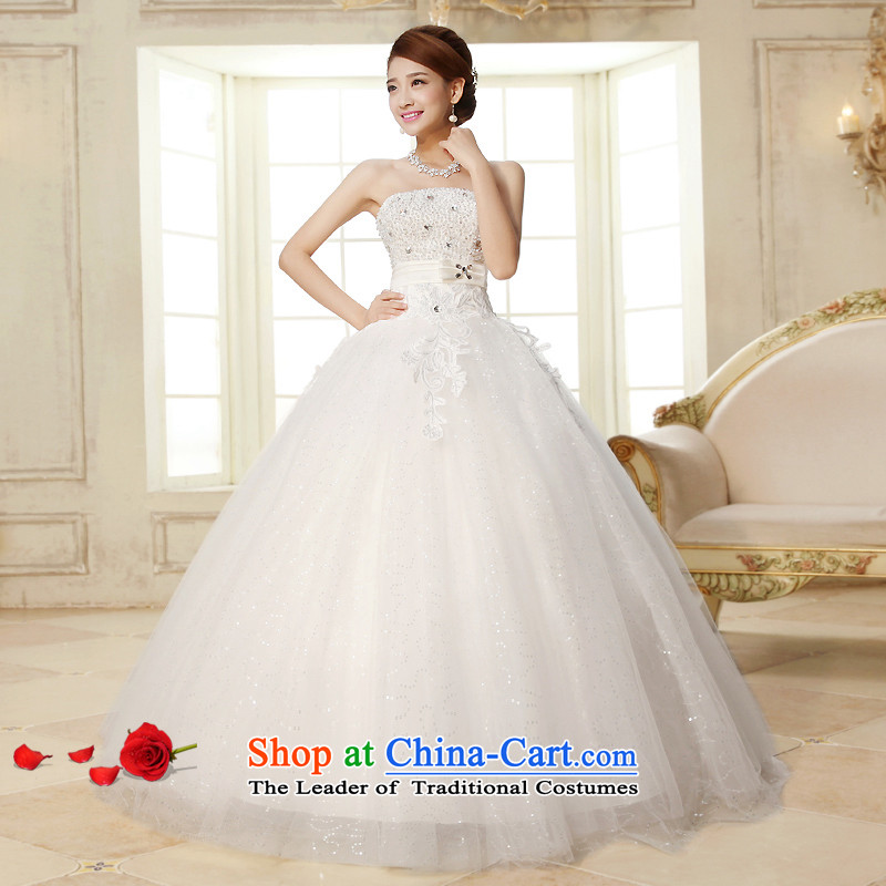 The HIV NEW 2015 wedding dresses on chip and diamond jewelry chest straps Bow Tie Silk flower buds Korean alignment to the Princess Bride wedding�H-26�White�XXL