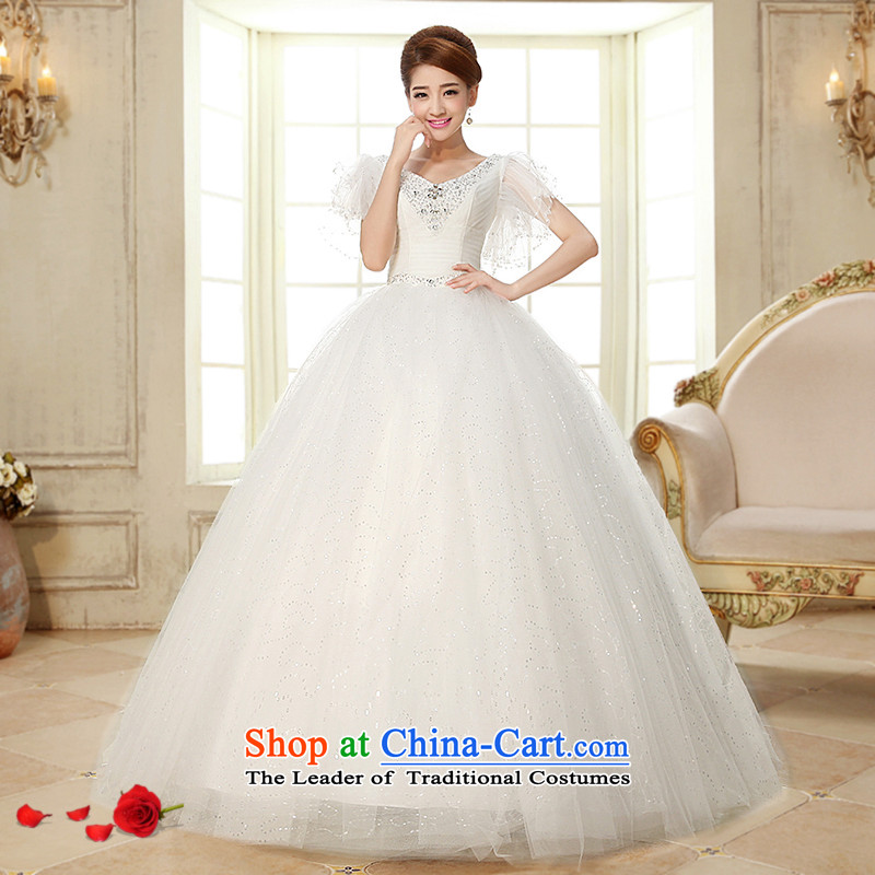 The HIV NEW 2015 wedding dress sweet shoulders gauze shoulder international diamond ornaments with Korean to align the Princess Bride marriage wedding�H-25�white�L