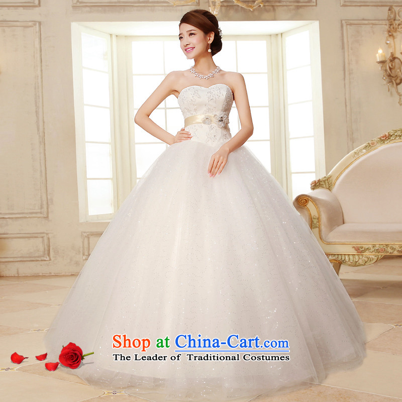 The HIV NEW 2015 wedding dresses and chest to align the princess sweet wedding Korean lace water drilling marriages to align?H-23 strap?White?XXL