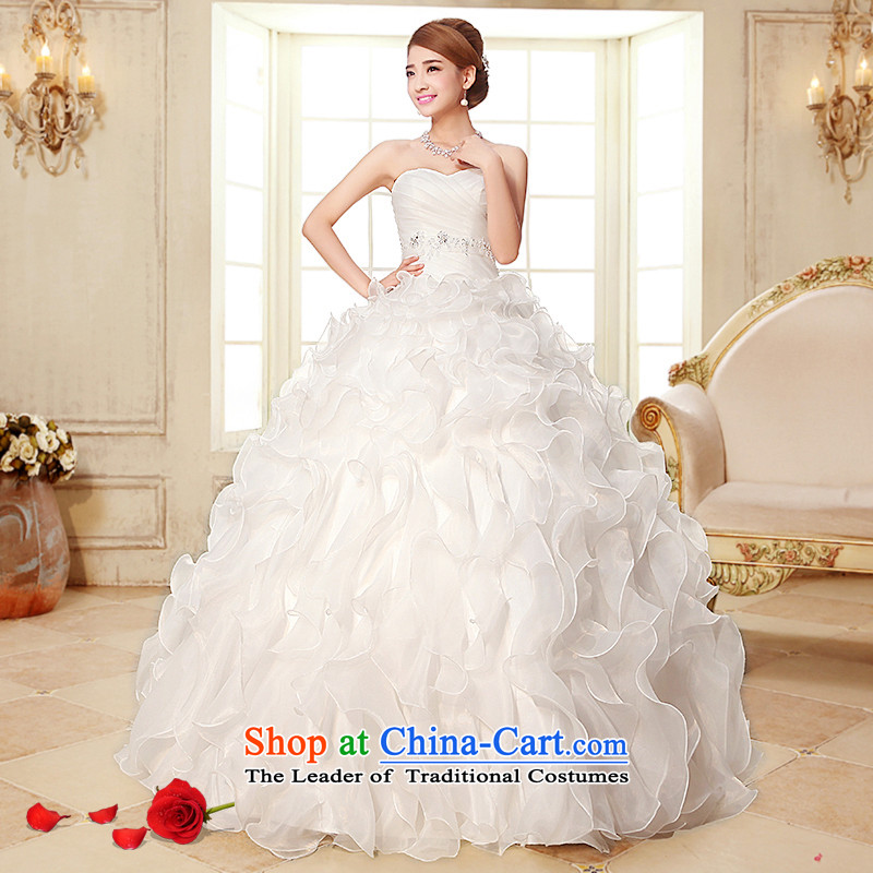 The HIV NEW 2015 wedding dress sweet retro straps and chest wedding Korean to align the princess bon bon petticoats bride wedding?H-21?White?M