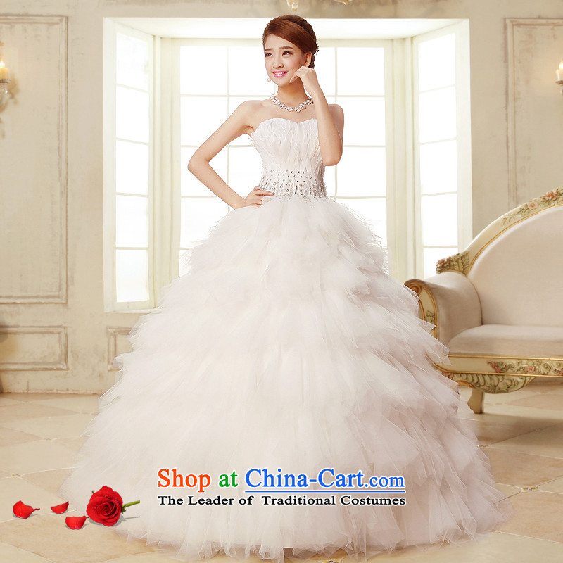 The HIV NEW 2015 wedding dresses Korean feather diamond wedding canopy of wiping the chest to ponzi princess wedding Korean straps Sau San?H-22?White?XXL