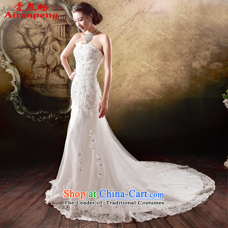 Love So Peng bride wedding dress small trailing video thin Korean hunsha Princess Mary Magdalene chest minimalist new 878 White?XL package returning