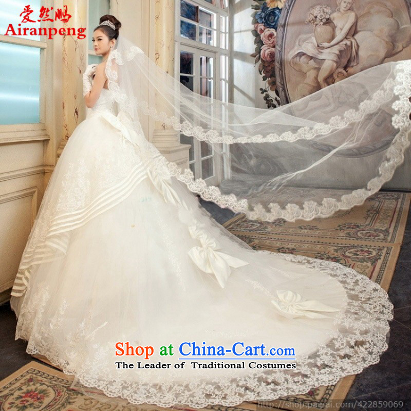 Love So Peng New 2014 wedding video thin exclusive luxury lace long tail Korean Won-sweet 9036 princess clients to size up the white do not return