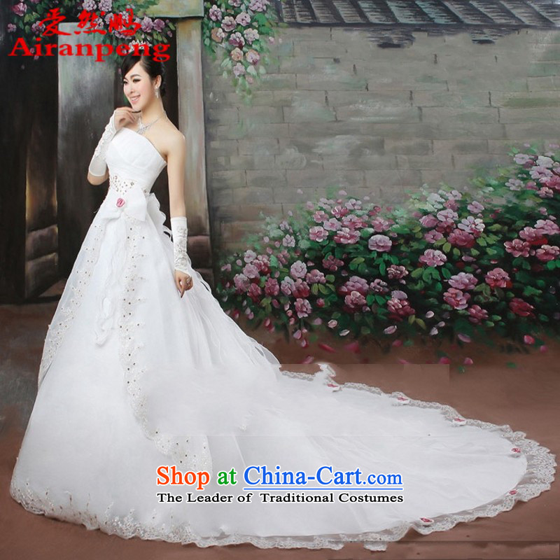 Love So Peng bubble yarn tail Korean wedding video thin Korean New Deal Princess tail wedding�package returning White XL