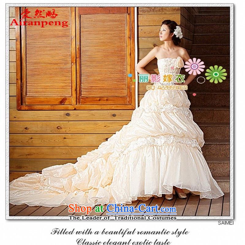 Love So Peng 9 Roses Korean sweet wedding Korean Princess Mary Magdalene chest bon bon stars of the same tail wedding dress champagne�XL package returning