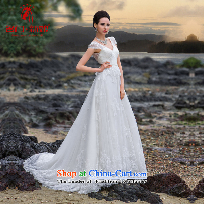 A?new bride 2015 wedding sexy V-Neck small trailing lace wedding with cuff wedding A537 White?M