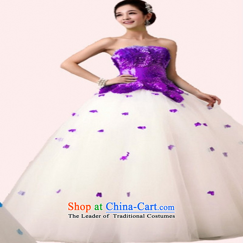 Blue flowers and chest pregnant women video thin wedding dresses stage dance **** sing bon bon skirt dress will long purple customers to do not returning the size to