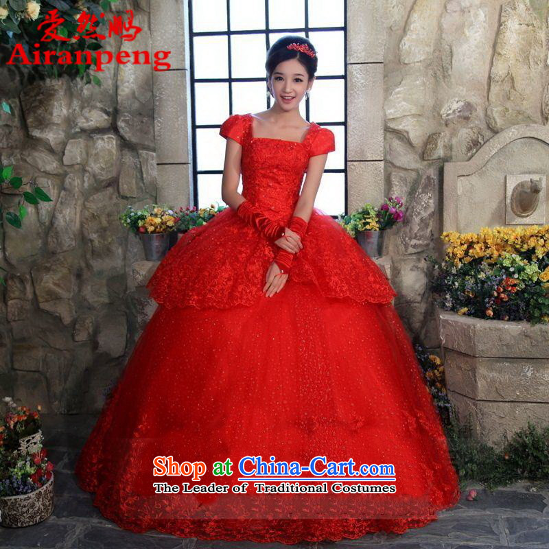 Love So Peng red wedding dresses new 2014 lace wedding Korean to align the princess wedding package shoulder straps red?XL package returning