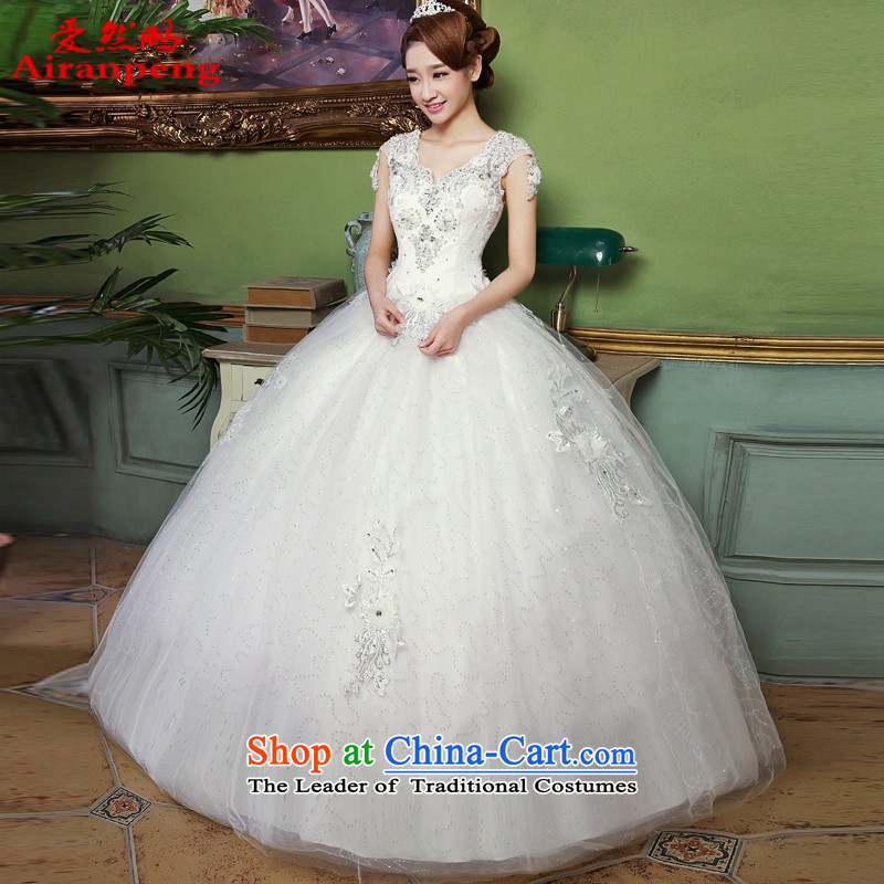 The spring of 2015, Peng so love women white bride to align the new Korean light retro V-Neck wedding dress stylish lace, White?XL package returning