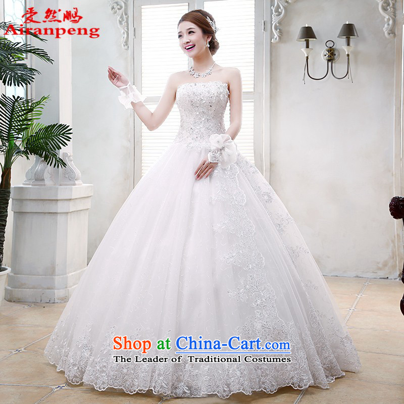 Love So Peng new Korean 2014 Princess Mary Magdalene chest to wedding dress bride lace retro white strap stylish water drilling the size to a customer to white do not return