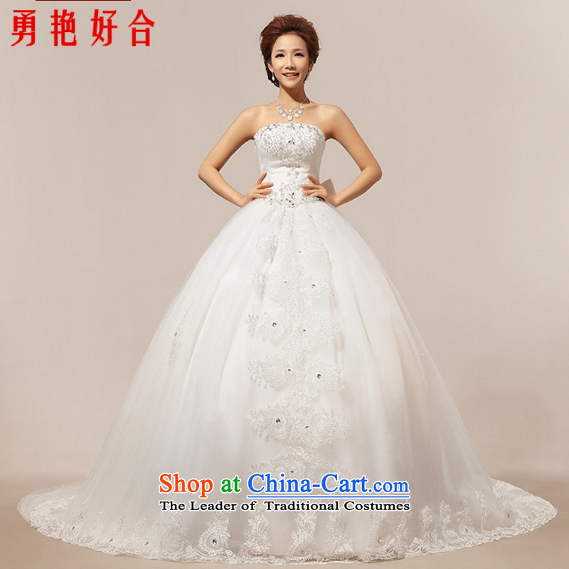Yong-yeon and new bride 2015 wedding dresses white Korean long tail and chest code back straps deluxe lace white?L