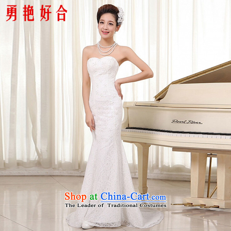 Yong-yeon and wipe the new 2015 chest wedding dresses foutune crowsfoot red lace bride wedding strap white made no refunds or exchanges Size